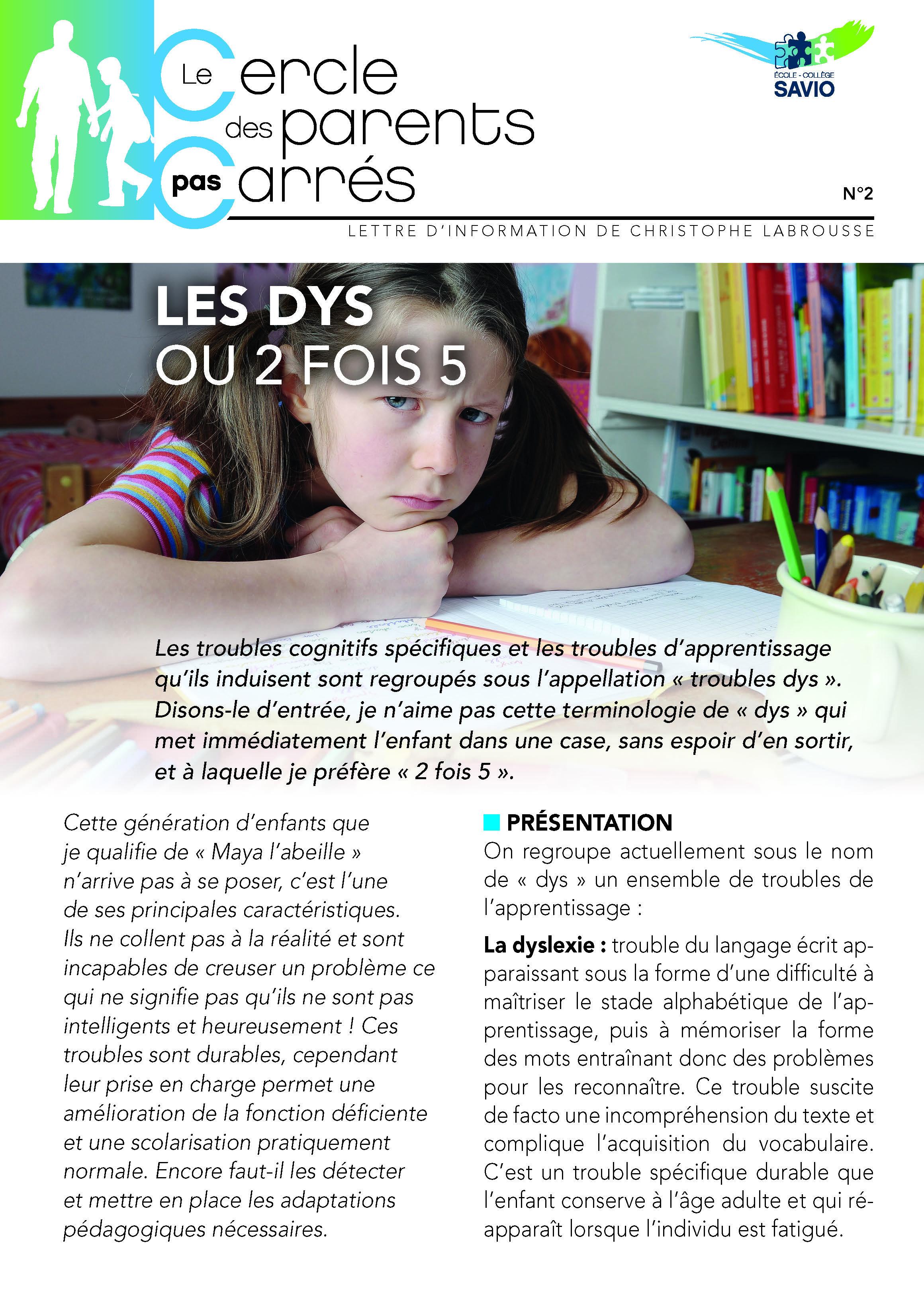 COUV SAVIO FICHE n°2 - LES DYS OU 2 FOIS 5